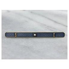 Early 1900's Blue Guilloche Enamel Bar Pin