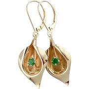 Golden Calla Lily & Green Demantoid Garnet Flower Earrings