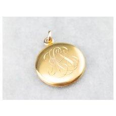 Victorian Monogrammed Locket in Bloomed 14 Karat Gold