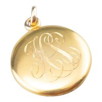 Victorian Monogrammed Locket in Bloomed 14 Karat Gold