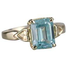 Solitaire Blue Zircon Sweetheart Ring