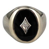 Men's Mid Century Onyx Diamond Ring