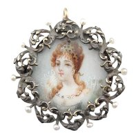 Sterling Silver, 14 Karat Gold and Seed Pearl Locket Pendant with Miniature Painted Portrait Center, Portuguese