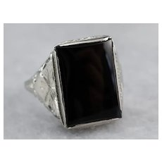 Vintage Black Onyx Filigree Statement Ring