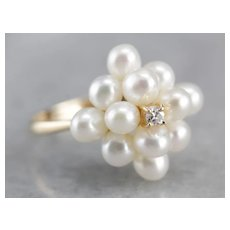 Vintage Diamond and Cultured Freshwater Pearl Cluster Ring