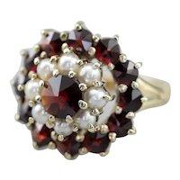Bohemian Czech Garnet Cluster Ring