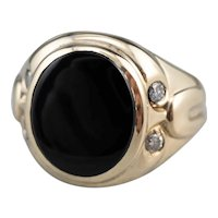 Retro Men's Black Onyx Diamond Statement Ring