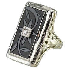 Amazing Carved Onyx and Diamond Floral Statement Ring