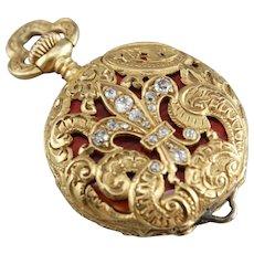 Ornate Victorian Pocket Watch, Antique Ladies Pocket Watch, Diamond Fleur de Lis Watch, Estate Jewelry
