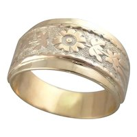 Tapered 1950's Wedding Ring with Cigar Band, Floral Style