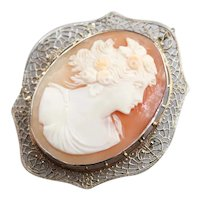Vintage Filigree Cameo Brooch or Pendant