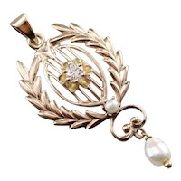 Antique Diamond and Freshwater Pearl Pendant