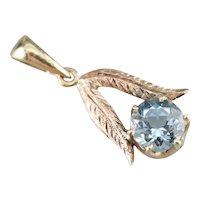 Pretty Aquamarine Feather Pendant
