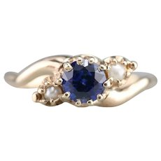 Pretty Sapphire and Seed Pearl Ring