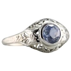 Upcycled Sapphire Solitaire Filigree Ring