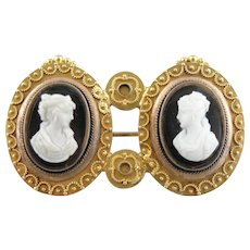 Twin Onyx Cameo Brooch, Double Portraiture and Etruscan Style