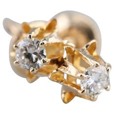 Diamond Buttercup Screw Post Stud Earrings