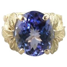 Bamboo and Leaves Upcycled Tanzanite Cocktail Ring