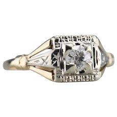 Retro Old Mine Cut Diamond Solitaire Ring