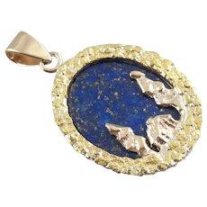 Alaskan Cabin: 14 Karat Gold Nugget and Lapis Lazuli Pendant