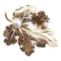 Cultured Pearl Grape Leaf Brooch