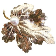 Cultured Pearl Grape Leaf Brooch