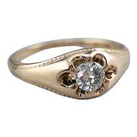 14K Belcher Set Diamond Solitaire Engagement Ring