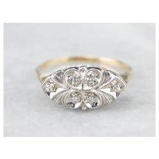 Floral Retro Era Diamond Anniversary Ring