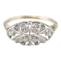 Floral Retro Era Diamond Anniversary Ring