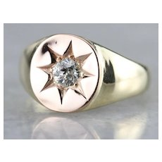 Upcycled European Cut Diamond Star Ring
