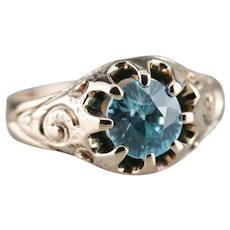 Scrolling Upcycled Blue Zircon Solitaire Ring