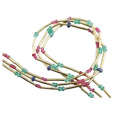 Vintage Ruby Emerald and Sapphire Beaded Necklace