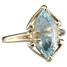 Marquise Cut Blue Topaz Ring