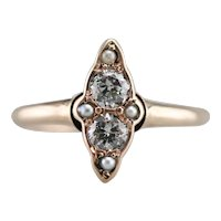 Victorian Diamond and Seed Pearl Ring