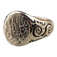 Scrolling Antique Rose 10 Karat Gold Signet Ring