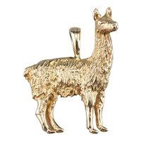 Large 14 Karat Gold Llama Charm Pendant