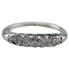 Vintage Diamond Heart Wedding Band