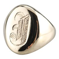 Bold Monogramed 'J' Signet Ring