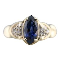 Vintage Marquise Sapphire and Diamond Ring