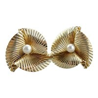 Bold 14K Gold and Cultured Pearl Stud Earrings from the Retro Era, Clip On Backs