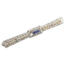 Art Deco Synthetic Sapphire Filigree Brooch
