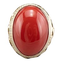 Mid Century Coral Cocktail Ring