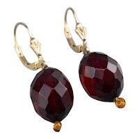 Cherry Red Bakelite Drop Earrings