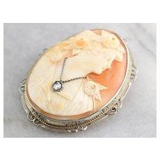 Lovely Rose Cut Diamond Cameo Pin or Pendant