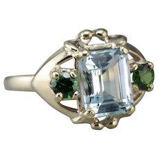 Upcycled Aquamarine and Green Garnet Ring