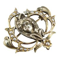 Art Nouveau Diamond Goddess Pin