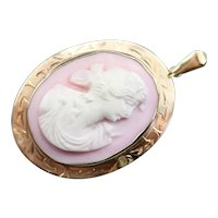 Vintage Pink Shell Cameo Pendant or Brooch