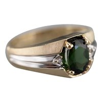 Men's Green Tourmaline and Diamond Ring