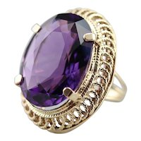 Large Pretty Amethyst Cocktail Ring