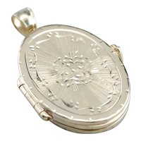Etched Multi Window Vintage Locket Pendant